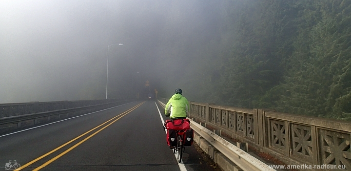 Cycling from Washburne State Park to North Bend. Pacific coast Vancouver - San Francisco on a bicycle