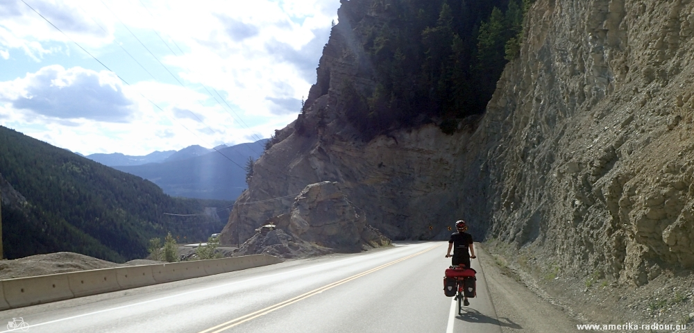 Cycling from Lake Louise to Golden.Trans Canada Highway by bicycle.