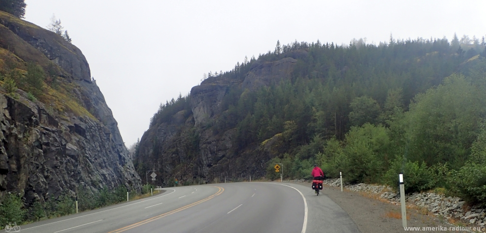 Cycling from Whistler to Squamish. Sea to Sky Highway / Highway99 by bicycle.