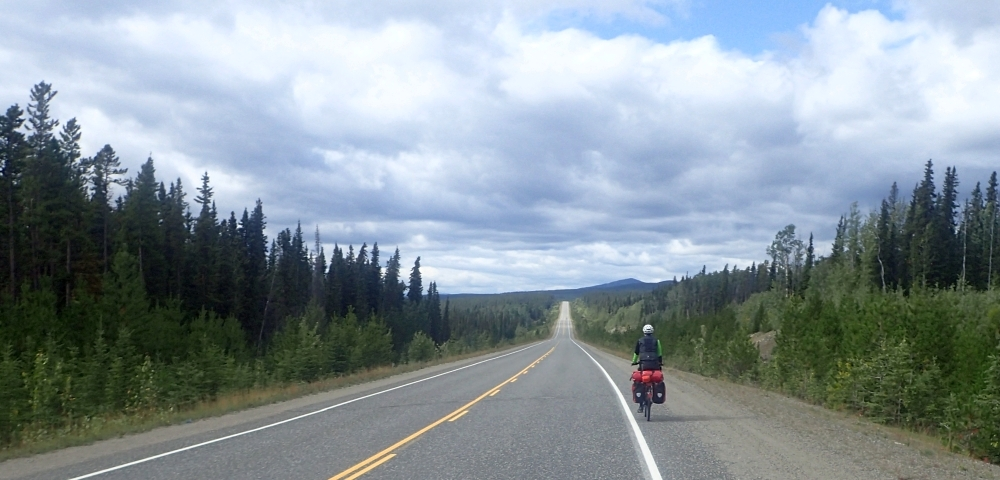 Mit dem Fahrrad von Smithers nach Whitehorse. Radtour über den Yellowhead Highway, Cassiar Highway und Alaska Highway. Etappe Rancheria - Morley Lake entlang des Alaska Highways